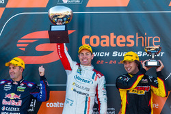 Podium: race winner Craig Lowndes, Triple Eight Race Engineering Holden, second place Jamie Whincup, Triple Eight Race Engineering Holden, third place Chaz Mostert, Rod Nash Racing Ford