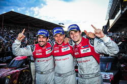 Race winners Lucas di Grassi, Loic Duval, Oliver Jarvis, Audi Sport Team Joest