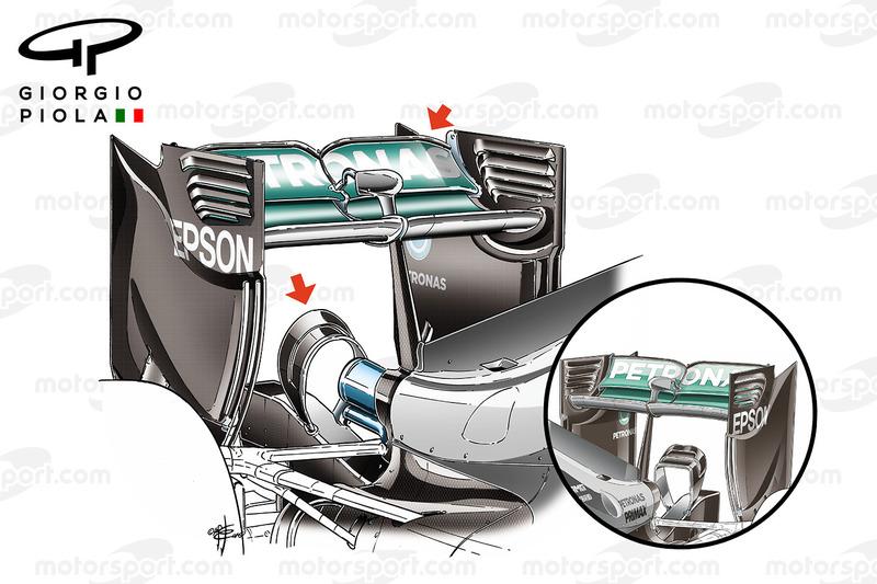 Mercedes W07 monkey seat comparison, Spain GP/Canadian GP