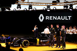Frederic Vasseur, Renault F1 Team Racing Director, Carlos Ghosn, Chairman of Renault, Kevin Magnussen, Renault F1 Team, Jolyon Palmer, Renault F1 Team and Esteban Ocon, Renault F1 Team