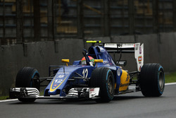 Felipe Nasr, Sauber C35 celebrates his ninth position at the end of the race