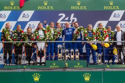 LMP2 podium: class winners #36 Signatech Alpine A460: Gustavo Menezes, Nicolas Lapierre, Stéphane Richelmi, second place #26 G-Drive Racing Oreca 05 Nissan: Roman Rusinov, Will Stevens, René Rast, third place #37 SMP Racing BR01 Nissan: Vitaly Petrov, Viktor Shaytar, Kirill Ladygin