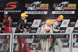 Podium: winner Nick Percat, Lucas Dumbrell Motorsport Holden, second place Michael Caruso, Nissan Motorsports, third place Garth Tander, Holden Racing Team celebrate with champagne