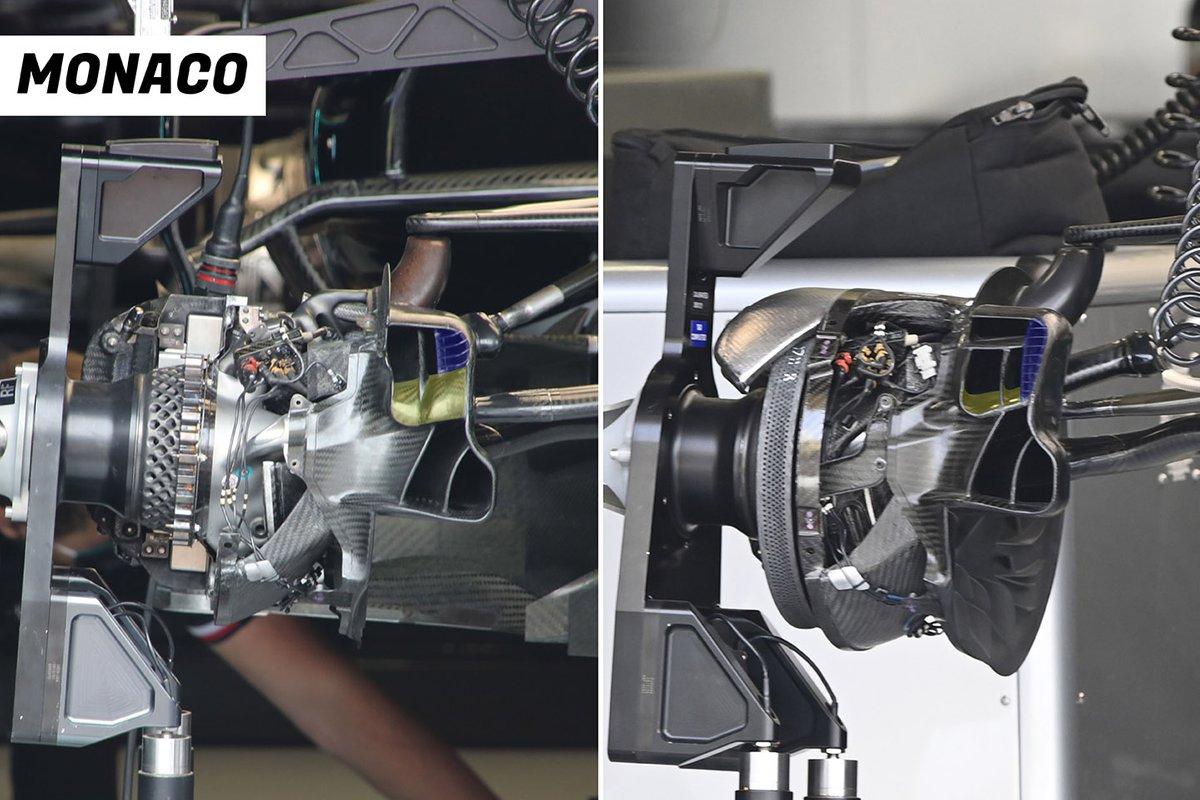 Comparación del ducto de freno frontal del Mercedes W12.