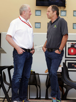 Dr Helmut Marko, Red Bull Motorsport Consultant with Gerhard Berger