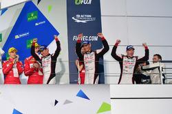 Podium LMP1: race winners #6 Toyota Racing Toyota TS050 Hybrid: Stéphane Sarrazin, Mike Conway, Kamui Kobayashi