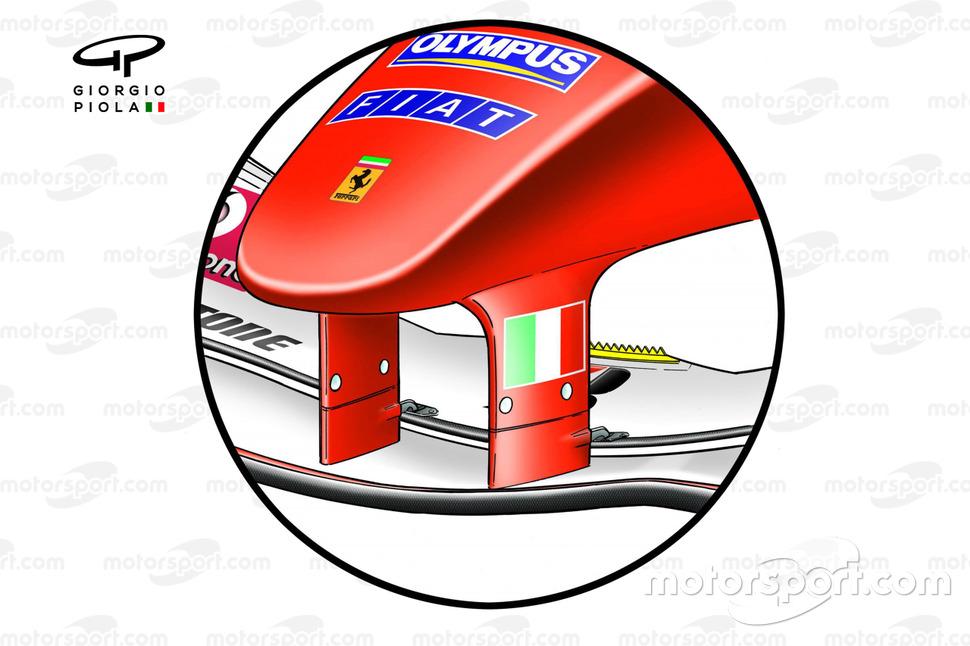 Ala delantera del Ferrari F2004 con detalles dentados marcados en amarillo.