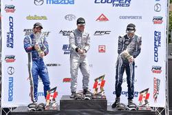 Podium: race winner Felix Rosenqvist, Belardi Auto Racing, second place Felix Serralles, Carlin, third place Kyle Kaiser, Juncos Racing