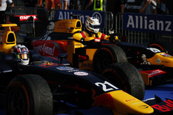 Pierre Gasly, PREMA Racing arrives in Parc Ferme after winning the Feature race