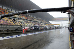Rain in the pitlane