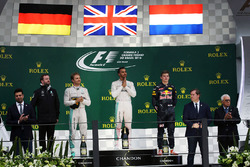 The podium (L to R): Nico Rosberg, Mercedes AMG F1, second; Lewis Hamilton, Mercedes AMG F1, race winner; Max Verstappen, Red Bull Racing, third