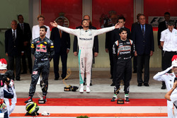 Lewis Hamilton, Mercedes AMG F1 celebrates on the podium with Daniel Ricciardo, Red Bull Racing and Sergio Perez, Force India