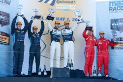 GTD podium: first place Mario Farnbacher, Alex Riberas, Team Seattle/Alex Job Racing, second place James Davison, Brandon Davis, TRG-AMR, third place Christina Nielsen, Alessandro Balzan, Scuderia Corsa