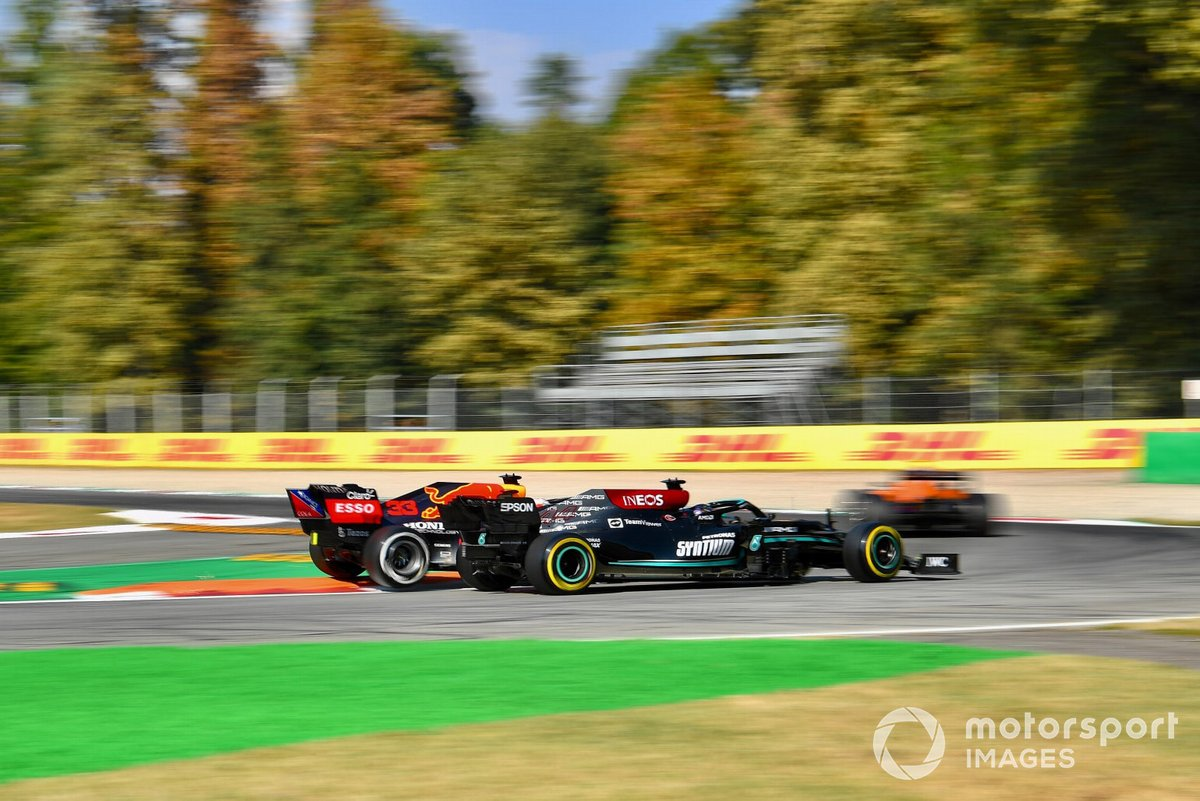 Lewis Hamilton, Mercedes W12 and Max Verstappen, Red Bull Racing RB16B collide