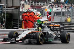 Sergio Perez, Sahara Force India F1 VJM09 celebrates his third position at the end of the race