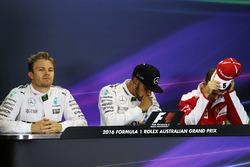Polesitter Lewis Hamilton, Mercedes AMG F1 Team, second place Nico Rosberg, Mercedes AMG F1 Team, third place Sebastian Vettel, Ferrari during the press conference