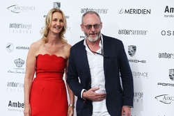 Sonia Irvine, with Liam Cunningham, Actor at the Amber Lounge Fashion Show