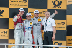podium, Mattias Ekström (SWE) Audi Sport Team Abt Sportsline, Audi A5 DTM, Lucas Auer, Mercedes-AMG Team Mücke, Mercedes-AMG C63 DTM, Robert Wickens (CAN) Mercedes-AMG Team HWA, Mercedes-AMG C63 DTM, teamboss Peter Mücke Mercedes-AMG Team Mücke