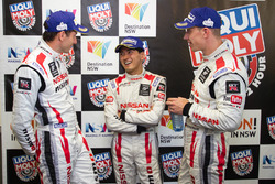 Post-race press conference: second place Rick Kelly, Katsumasa Chiyo, Florian Strauss, Nissan Motorsports