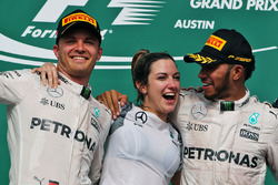 The podium (L to R): Nico Rosberg, Mercedes AMG F1 with Victoria Vowles, Mercedes AMG F1 Partner Services Director and race winner Lewis Hamilton, Mercedes AMG F1