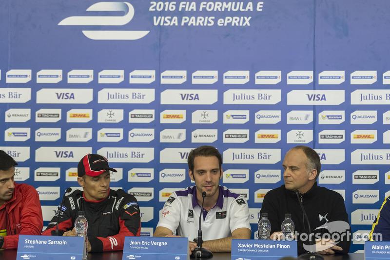 Stéphane Sarrazin, Venturi with Jean-Eric Vergne, DS Virgin Racing and Xavier Mestelan Pinon, DS Performance Director