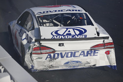 Crashed car of Trevor Bayne, Roush Fenway Racing Ford