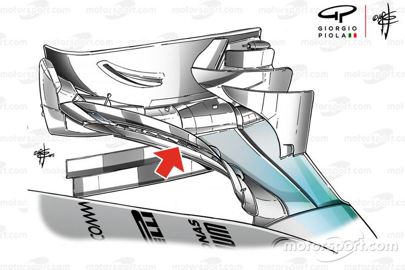 El alerón delantero del Mercedes AMG F1 W06 en el GP de Rusia.