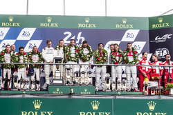 LMP1 podium: class and overal winners #2 Porsche Team Porsche 919 Hybrid: Romain Dumas, Neel Jani, Marc Lieb, second place #6 Toyota Racing Toyota TS050 Hybrid: Stéphane Sarrazin, Mike Conway, Kamui Kobayashi, third place #8 Audi Sport Team Joest Audi R18: Lucas di Grassi, Loic Duval, Oliver Jarvis, privateer award winners #12 Rebellion Racing Rebellion R-One AER: Nicolas Prost, Nick Heidfeld, Nelson Piquet Jr.
