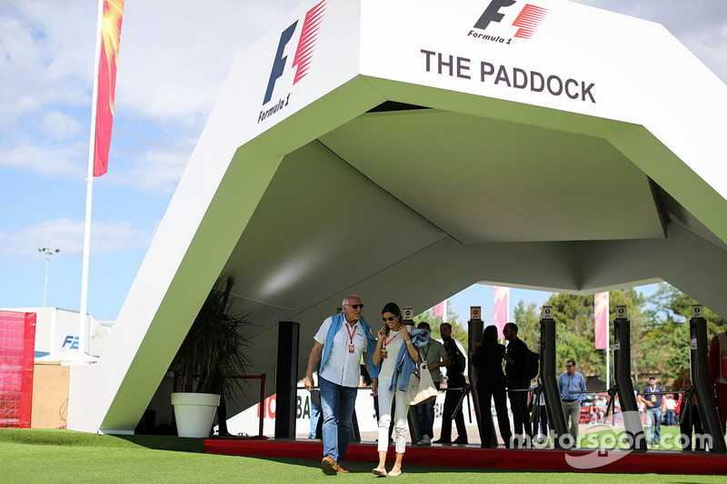 Dietrich Mateschitz, CEO and Founder of Red Bull at the F1 Paddock gates