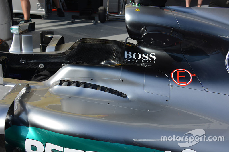Mercedes AMG F1 W07 Hybrid cockpit louvres detail