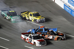 Crash: Cameron Hayley, ThorSport Racing Toyota; Christopher Bell, Kyle Busch Motorsports Toyota; Spencer Gallagher, GMS Racing Chevrotel; Cody Coughlin, Kyle Busch Motorsports Toyota