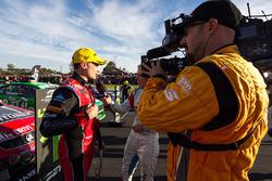 Winner Tim Slade, Brad Jones Racing Holden with the media