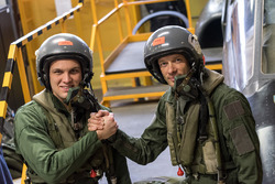 Marco Sorensen and Alexander Wurz ready for a French Air Force fighter pilot ridealong