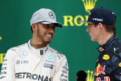 Podium: race winner Lewis Hamilton, Mercedes AMG F1, third place Max Verstappen, Red Bull Racing