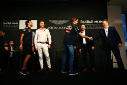 Daniel Ricciardo and Daniil Kvyat, Red Bull Racing with Ian Minards, Director of Product Development Aston Martin, Marek Reichman, Chief Creative Officer and Design Director Aston Martin, Adrian Newey, Chief Technical Officer Red Bull Racing, Christian Horner, Red Bull Racing Team Principal and Andy Palmer, Chief Executive Officer Aston Martin