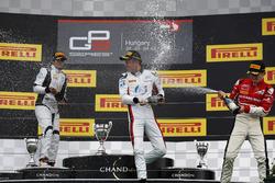 Alexander Albon, ART Grand Prix Oscar Tunjo, Jenzer Motorsport and Charles Leclerc, ART Grand Prix celebrate