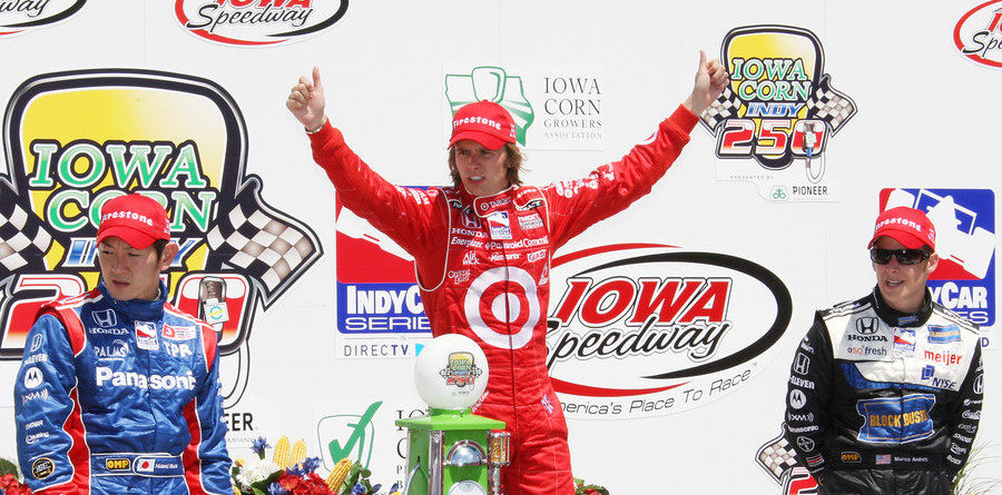Wheldon masters the Iowa Speedway for the win
