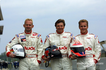 Audi drivers Ralf Kelleners, Didier Theys and Johnny Herbert