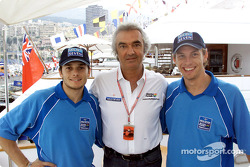 Giancarlo Fisichella, Flavio Briatore and Jenson Button