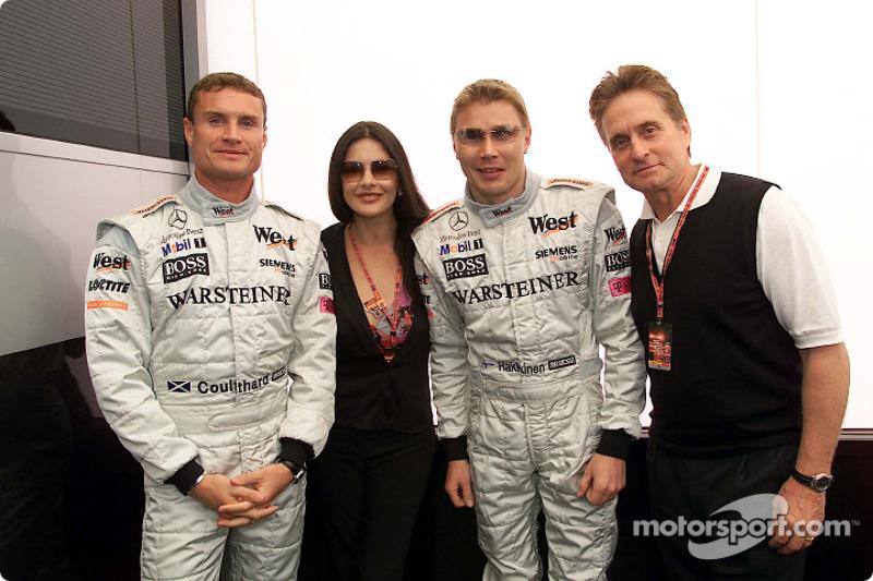 David Coulthard, Catherine Zeta-Jones, Mika Hakkinen and Michael Douglas