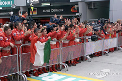 Team Ferrari celebrating
