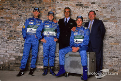 Mark Webber, Giancarlo Fisichella, Flavio Briatore, Jenson Button and Patrick Faure