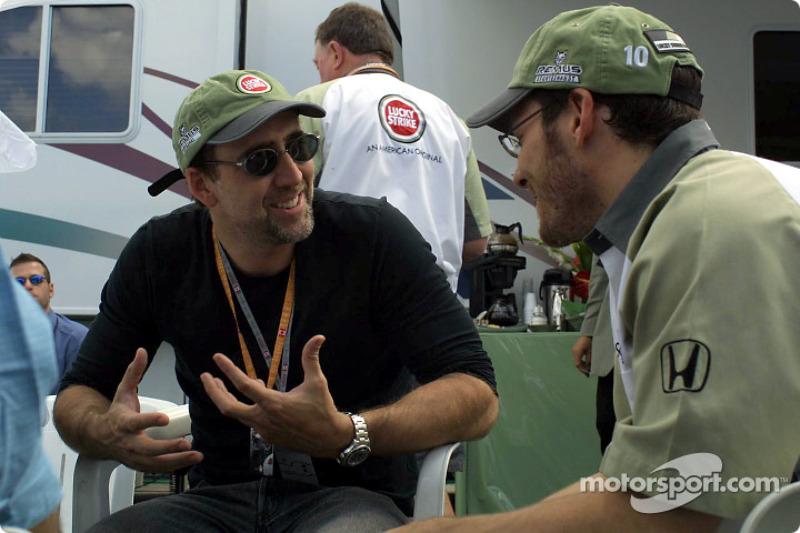 Jacques Villeneuve discussing with Nicolas Cage
