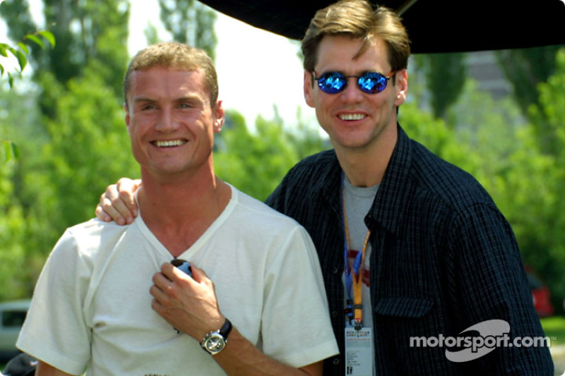 David Coulthard and Jim 'The Mask' Carrey