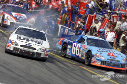 Dale Jarrett beats Todd Bodine and Jeff Burton out of the pits at Loudon