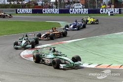 At the back: Pedro de la Rosa in front of Eddie Irvine