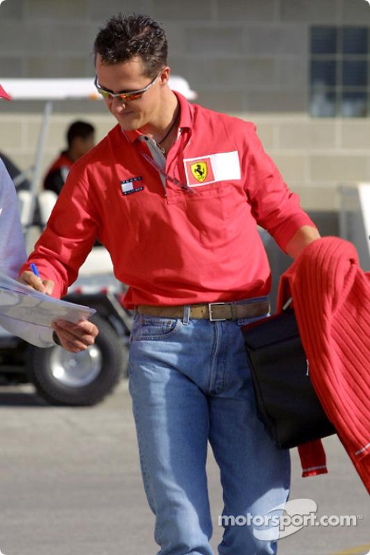 Michael Schumacher signing autographs