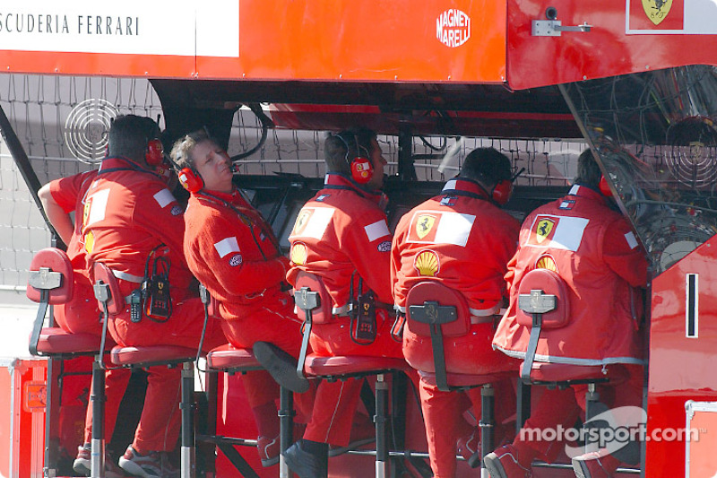 Getting ready for the race at Ferrari