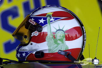 Robert Pressley's helmet sports patriotic colors in support of the NYFD