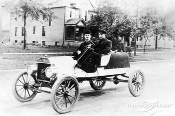 Frank Kulick (driving) with Joe Gabut in an early racing Model T